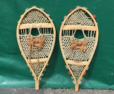 Early Indian SNOWSHOES 24x10 w/ OLD POMPOMS Snow Shoes LEATHER BINDINGS