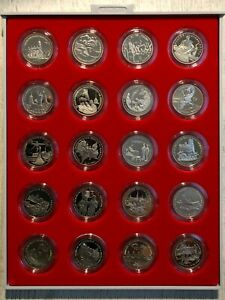 Russia Copper Nickel 3 Rubles 1991-1995 Set of 20 Coins 50 Years of Victory+Box