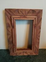 "Old Vintage Carved Wood Handmade Tribal Rustic Picture Frame Holds 4"" X 7"""