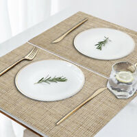Set of 4 Placemats PVC Woven Washable Heat Resistant Dining Table Mat Beige