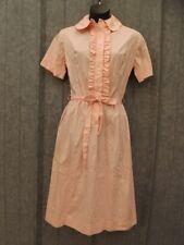 Vtg 1950s Deadstock New Pink Cotton Ruffle Shirt Waist Dress 11/12 Summer Casual