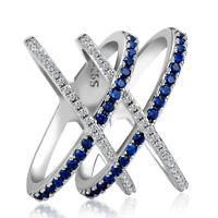 Fashion 925 Silver Rings Jewelry Blue Sapphire Women Wedding Ring Size 6-10