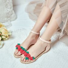 Women's Casual Ankle Strap Sandals Sweet Strawberry Sandals Peep Toe Flats Shoes