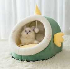 New Pet Dog Cat House Bed Tent Kennel Cushion Mat Removable Indoor Bed With Ball