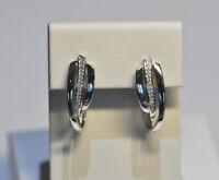 Echt 925 Sterling Silber Ohrringe Creolen mit Zirkonia Hochzeit Nr 267