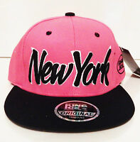 New men womens black hot pink snapback hat dope cap peak baseball NEW YORK logo