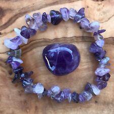 Amethyst Gem Chip Bracelet and Tumblestone Set Meditation Crown Chakra Reiki