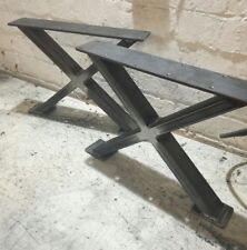 2 INDUSTRIAL CROSSED  METAL COFFEE TABLE LEG 30cm tall 40cm wide 50mm x 25mm box