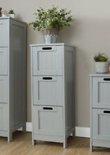 Colonial Bathroom Slim 3 Chest of Drawers Cabinet Tong & Groove Effect - Grey