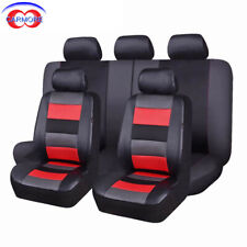 11 Full Set Universal Faux Leather Seat Covers Red Interior with Mesh Polyester