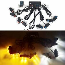 8In1 16 LED Remote Control Flash Strobe Warn Light Deck Dash Grill Amber&White