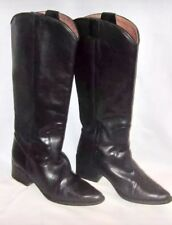 VTG Kenneth Cole Black Leather Western Style Knee High Boots 6.5 M EUC