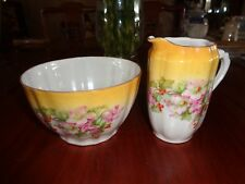 Extremely Pretty Yellow With Christmas Rose And Berry Sugar Bowl And Cream Jug