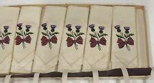 6 Vintage Sundew Linens Scottish Hand Embroidered Thistle  Tea Napkins NIB