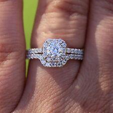 1.25 Ct Round Cut Halo Engagement Bridal Ring Set 14k White Gold Finish For Gift
