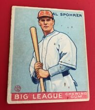 "1933 Goudey Big League Chewing Gum #161 ""AL SPOHRER""; Good"