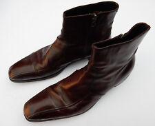 PRADA Unisex Leather Burgundy Oxblood Brown Chelsea Dealer Ankle Boots UK Size 6