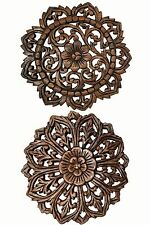 Set of 2 Round Floral Wood Carved Wall Hanging. Tropical Wall Plaque.Brown 12.5""