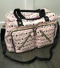 NWT Betsey Johnson Cargo Blush Pink and Black signature Weekender travel Bag