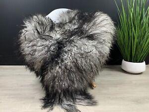 Curly Black Gray Sheepskin Rug Pelt Genuine Natural Soft Best Seat Cover