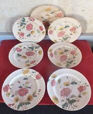 serie 6 grandes assiettes faience E.Bourgeois decor floral