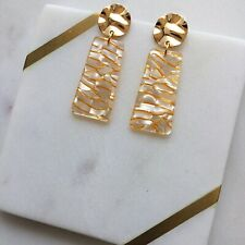 White Gold Rectangle Acetate Gold Wavy Stud Fashion Statement Earrings Handmade