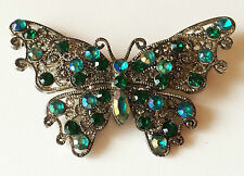 Exquisite Vintage Blue Green Rhinestone Silver Filigree Butterfly Brooch Pin