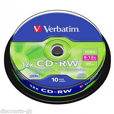 Verbatim cd-rw rewriteable / rerecordable cd disques broche-Pack de 10 43480