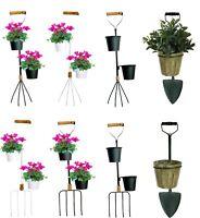 Wall Mounted Metal Garden Fork Shovel Rake Tool Planter Plant Flower Pot Holder