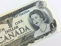 1973 Canada 1 One Dollar BAF Prefix Uncirculated Canadian Banknote K868