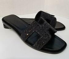 New Women Black H Slippers Flip Flops Sandals Beach Size 39 / 9