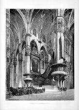 Stampa antica MILANO interno del Duomo 1877 Old Print