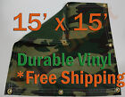 15' x 15' Heavy Duty 18 oz Vinyl Camo Camouflage Tarp Ground Cover Blind