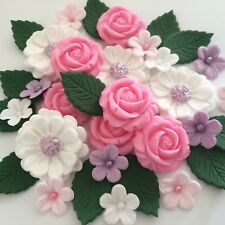 LILAC PINK WHITE BOUQUET Edible Sugar Flowers Cake Decorations Cupcake Toppers
