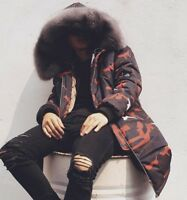 men camouflage hooded cotton mid long coat fur collar long parka thicken warm