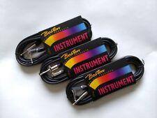 3 pack of Guitar / instrument cables, black, 6M 1 jack+1 angled jack(GC-104-6BK)