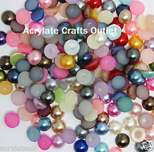 2000x 3mm Mixed Colours Flat Back Half Round Resin Pearls Nail Art Craft Gems