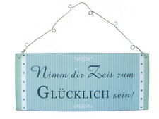 """Schild Metall Groß """"Nimm dir Zeit zum glücklich sein"""" 30 x 13 cm"""