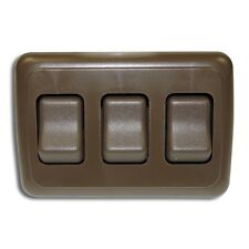 Triple 3 Gang On-Off 12V Brown Light Switch - RV Camper Trailer Marine Boat 12 V