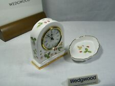 "Wedgwood ""Bone China Wild Strawberry "" Dome Mantle Clock & Silver tray, Superb !"