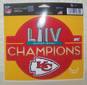"Kansas City Chiefs Decal 4.5 x 6"" Multi Use Color Super Bowl 54 Champs"