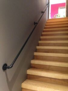 """STAIR HAND RAIL BANISTER WITH BRACKETS VINTAGE FROM INDUSTRIAL PIPE FITTINGS 1"""""""