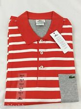 Lacoste Men's Polo Shirt Brand NWT Red Orange White Silver Size EU 8 US 2XL