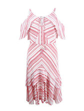 Sangria Womens Pink Striped Cold Shoulder Knee-length Party Dress 6 BHFO 4057