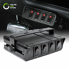 4-Gang 12V DC 40A ON/OFF Rocker Switch Box For Jeep Auto Automotive Car Marine
