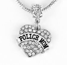Police Mom charm  fits european style bracelet (charm only) cop  Law Enforcement