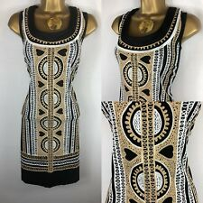 NEW Ladies ALMATRICHI Size 12 40 EU Black Pencil Dress Embroidered Boho Holiday