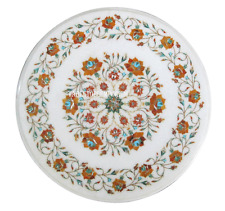 """18"""" White Marble Coffee Table Pietradure Inlay Carnelian Floral Work Arts Gifts"""