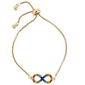 Gold Rainbow Contemporary Crystal Infinity Bracelet -  Fashion Jewellery