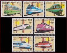 CAMBODGE Kampuchea N°864/870** Locomotives trains 1989, CAMBODIA Kambodscha MNH